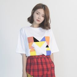 (UNISEX) Colorful M Logo Short Sleeve T (WHITE)