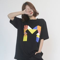 (UNISEX) Colorful M Logo Short Sleeve T (BLACK)