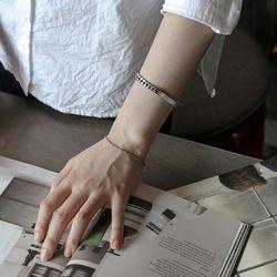 에르모사제이 빈티지 실버 925 유화 은 팔찌 W019-8mm-16.5cm