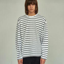 (UNISEX) 스트라이프 롱 슬리브 티셔츠 아이보리