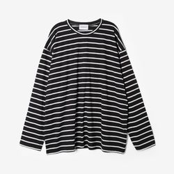 (UNISEX) 스트라이프 롱 슬리브 티셔츠 블랙
