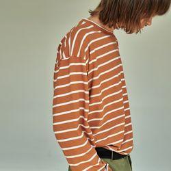 (UNISEX) 스트라이프 롱 슬리브 티셔츠 브라운