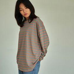 (UNISEX) 스트라이프 롱 슬리브 티셔츠 그레이