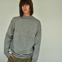 (MEN) 브로드 하프넥 루즈 니트 티셔츠 그레이