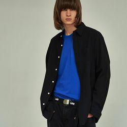 (UNISEX) 베이식 칼라 루즈핏 데일리 셔츠 블랙