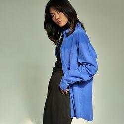 (UNISEX) 베이식 칼라 루즈핏 데일리 셔츠 블루