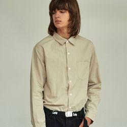 (UNISEX) 베이식 칼라 루즈핏 데일리 셔츠 베이지