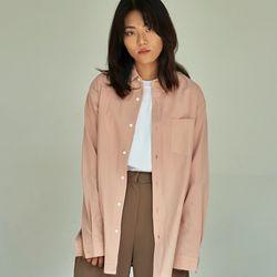 (UNISEX) 베이식 칼라 루즈핏 데일리 셔츠 핑크