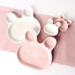 토끼 나눔접시 2PSet 핑크(대)+화이트(대) 접시 추카