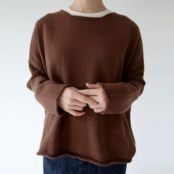 round neck basic knit (brown)