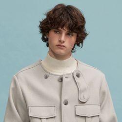 no collar half coat (light gray)