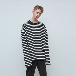 STRIPE OVERFIT T-SHIRTS BLACK
