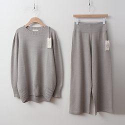 [Set] Hoega Round Knit   Wide Pants