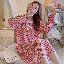 면 혼방 리본 원피스 잠옷 (과일 도트 체크  8종 택1)