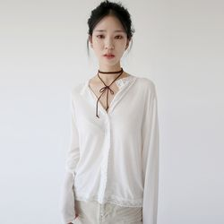 girlish lace sliky blouse (white)