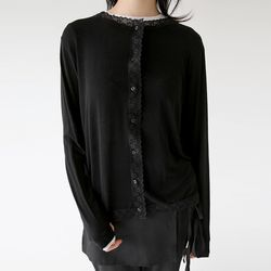 girlish lace sliky blouse (black)