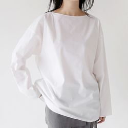 dry texture boat-neck blouse (4colors)