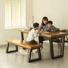 뉴송 우드슬랩 통원목 2인 테이블 일체형 철재 프레임 1400