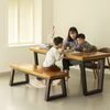 뉴송 우드슬랩 통원목 6인 테이블 일체형 철재 프레임 2000