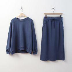 [Set] Cotton Sweatshirt    Long Skirt