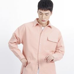 (UNISEX)Over Classic Pocket Shirt(PINK)