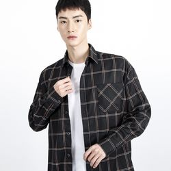 (UNISEX)Over-fit Black Window Check-Shirt