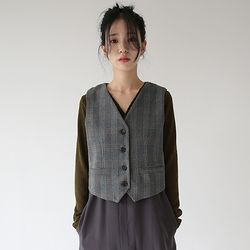 soft wool texture check vest
