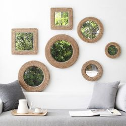라탄 디자인 거울 (7type)