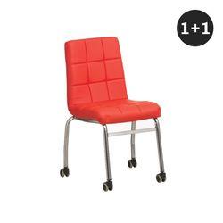데얼 엠보 쿠션 의자 바퀴형 1세트-2개