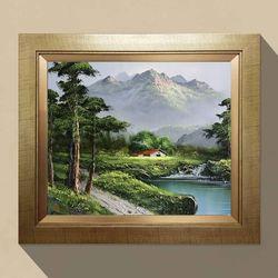 유화그림 기품의 소나무 풍수지리 그림액자 10호