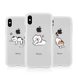 [T]뚱냥이 투명 젤리 케이스.아이폰7(8)공용