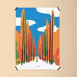 유니크 인테리어 디자인 포스터 M 메타세콰이어 단풍 A3(중형)