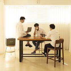 뉴송 우드슬랩 통원목 오피스 테이블 일체형 철재 프레임 2200