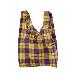 [바쿠백] 휴대용 장바구니 접이식 시장가방 Yellow Tartan