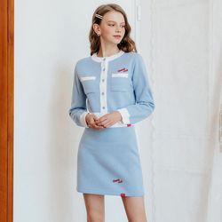 [예약판매 10/30 발송] Heart Line Knit Cardigan Knit Skirt SET (스카이블루)