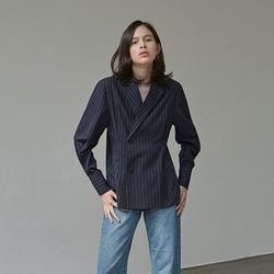 STRIPE DOUBLE BLOUSE JACKET NAVY