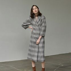 DOUBLE LONG DRESS COAT CHECK