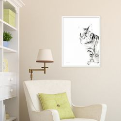 흑백 �C있고 귀여운 고양이 동물 작품 인테리어 그림액자