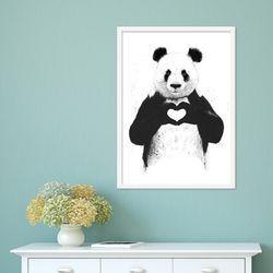 흑백 귀여운 판다 곰 하트 동물 작품 인테리어 그림액자