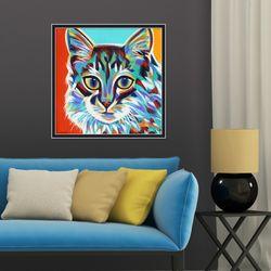 다채로운 컬러풀 고양이 II 동물 작품 인테리어 그림액자