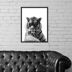 흑백 호랑이 동물 사진 인테리어 그림액자
