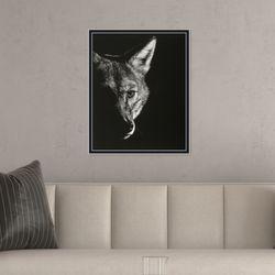 흑백 늑대 동물 사진 인테리어 그림액자