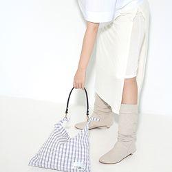Fabric leather bag - grey