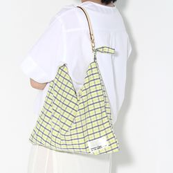 Fabric leather bag - yellow blue