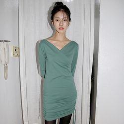 side shirring wrap midi dress (2colors)