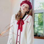 Heart Coloration Knit Cardigan Knit Skirt SET