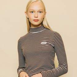 SOFT TOUCH STRIPE T-SHIRTS BROWN