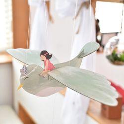 [버드힐링모빌] 날갯짓하는 새모빌 민트새