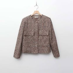 Tweed Zipper Shorts Jacket