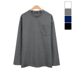 넥 포인트 포켓 라운드 긴팔 티셔츠 TSL168